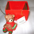 1988 Potporri Press ceramic Bear Christmas Ornament in box Taiwan