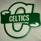 "Boston Celtics large plastic Boosters pin 3"" x 3.5"""