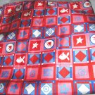 "V E Delure pink red blue silk handmade scarf 20"" sq NWOT fish star squares signd"