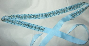 "J Crew blue beaded Rhinestone ribbon belt 1 size 60"" x 1"" NWOT"