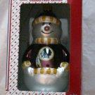 NFL Washingtn Redskins blown glass snowman Ornament NIB