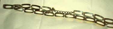 "Gold tone metal link skinny belt M/L up to 42"" x .75""  adjustable MINT! Spain"