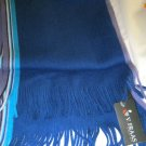 V Fraas blue acrylic fringed long scarf NWT 64 x12