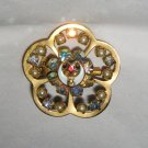 "VTG Masons AB Rhinestone stacked gold metal enameled 1.25"" floral pin brooch"