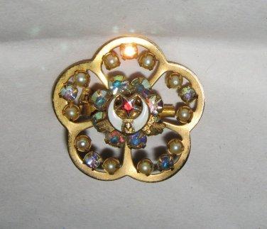 "VTG Masons AB Rhinestone stacked gold metal enameled 1.25"" floral pin brooch"