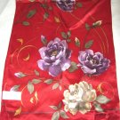 "Liz Claiborne red green floral silk long scarf 56"" x 11"" signed rolled edge"