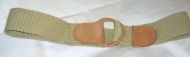 "Tan suede & beige cord D Ring wide belt M 32"" x 2"""