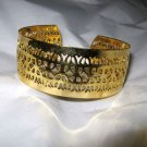"Goldtone metal Filigree cuff bracelet 1"" wide adjustable"