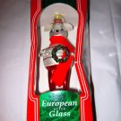 "1996 Santa's Best 7"" large painted glass figural Mouse w/wreath ornament NIB"