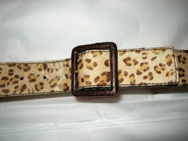 Tan cat print cowhide hair leather belt S NEW 33 x 1.75