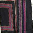 "Vtg Golden Camel black gray red silk geometric scarf 23"" square hand printed"