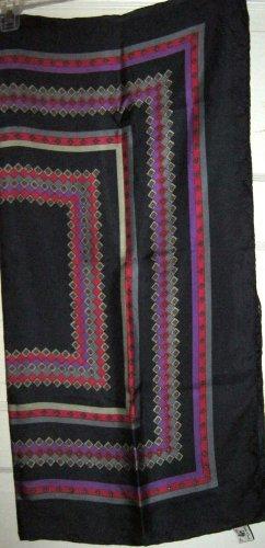 "Vtg Golden Camel black gray red silk geometric scarf 23"" square hand printed"