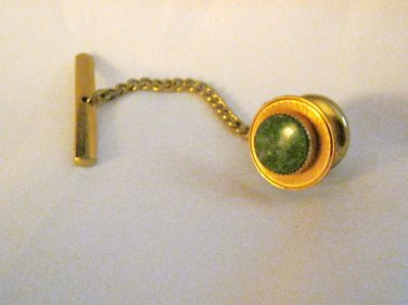 "VTG Lamode yellow Gold filled tone green stone round 12mm 3/8""  tie tac signed"