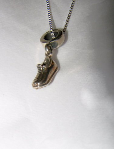 "925 Sterling Silver cleat shoe figural pendant & square chain 20"" necklace 3.95g"
