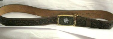 "VTG Tory Brown tooled leather western belt 40 x 1.5"" MOP rose mosaic buckle"