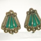 "VTG 40's MPC Sterling Silver green stone screw back earrings 1"" Mexico"