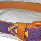 "Southwestern purple canvas leather lined belt S up to 30"" x 1"" EC leather buckle"