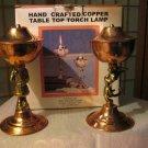 Irvine Charm & Design Copper Santa & Angel table torch lamp set NIB