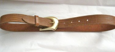 "VTG brown leather moc croc embossed belt woman's XS/S 23""-27"" x 1"" USA"