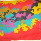 "VTG Jacoques Rollet red cotton wrap scarf  42"" x 60"" Tropical print"