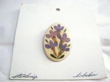 "Vintage Lobelia Floral enamel oval Sterling back pendant pin brooch 1.5"""
