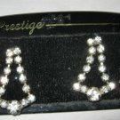 Vintage Prestige rhinestone pave silver tone dangle post pierced earrings NOS