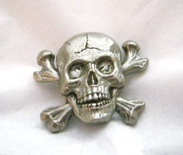 "CJ Cracked skull figural pewter pendant charm concho 1.25"" x 1.5"" set of 2"