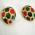 Enamel rhinestone red green blue gold tone oval clip earrings