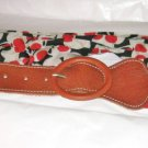 "7 Hills brown leather & red dot black white fabric belt S 26""-31"" x 1 5/8"""