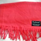 "Vintage Cashmink pink fringe soft acrylic long scarf 52"" x 11"" West Germany"