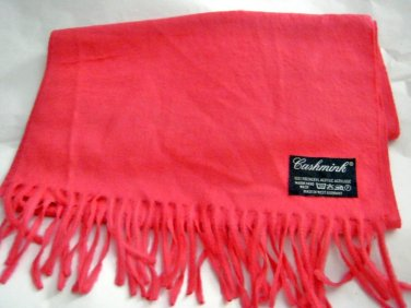 "Vintage Cashmink pink fringe soft acrylic long scarf 52"" x 11"" West Germany"