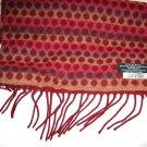"Soft Polka dot stripe burgundy red fringe acrylic long scarf 58"" x 11"" Germany"
