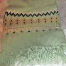 "Gap green lambswool nylon blend knit fringe long scarf 62"" x 10"""
