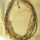 Vtg Peyote Bird Designs rutilated quartz bead multi strand choker necklace 925