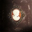 "Vintage Avon Cameo perfume gold tone locket 2"" brooch pin in box NOS w/perfume"