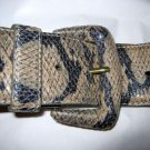 "Betsey Johnson faux python snakeskin wide belt S 32"" x 2""  covered buckle"