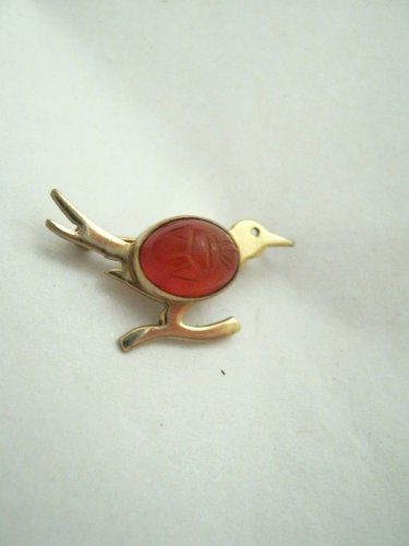 VTG WRE W E Richards 12K GF gold filled scarab jelly belly Roadrunner pin Small