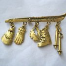 "VTG J J Jonette gold tone Ski boot hat charm pin brooch   2.5"" x 1.5"""