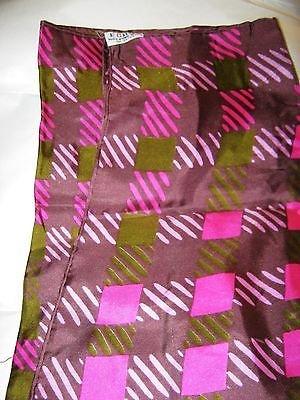 "Vintage Echo pink green stripe plaid silk scarf 31"" sq.  Japan signed"