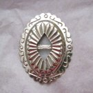 """Oval slotted silver metal stamped concho  2.25"""" x 1.75"""" NOS Taiwan"""