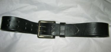 """Le Sac Damode black leather belt S 28 x 1 1/2 """" brushed pewter tone buckle"""