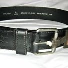 "Fortress black leather belt S 30-32  x 1.5 ""  solid brass silver tone buckle"
