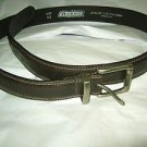 "Dickies dark brown leather lined belt 42  x 1 1/4 ""  silver tone logo buckle"