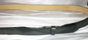 "Ranger style black leather belt  46-50  x 1.25 ""   silver tone buckle USA"