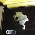 "Kelly Waters pewter engraved frog pin brooch  1.75"" x 1"" signed New in Box"