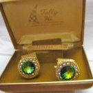 50s Tally Hi Watermelon Rivoli AB Rhinestone gold tone round cuff links tie bar