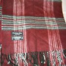 "Christian Dior Cashmaire black burgundy gray plaid long scarf 48"" x 11"" Japan"