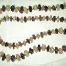 "Vintage Amethyst Clear Quartz pebble stone gold tone bead 30""  long necklace"