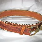 "Hereford western brown tooled leather belt 30  x 1.5 ""  solid brass buckle USA"