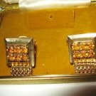 50s Cavalier amber Rhinestone gold tone mesh square cuff links in box